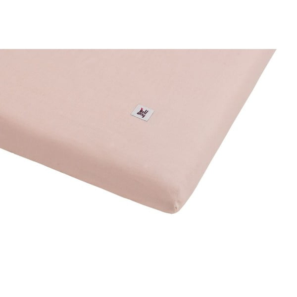 Cearceaf din in pentru copii BELLAMY Dusty Pink, 90 x 200 cm, roz