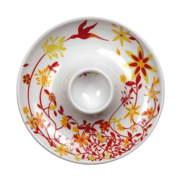 Sada 2 talířů s kalíškem na vejce Birds Cup, oranžový
