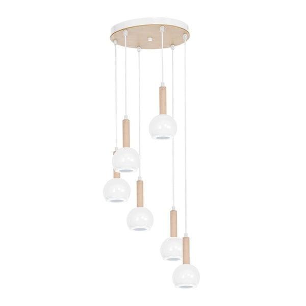Biała lampa wisząca z drewnianymi detalami Bolle Seis Duro
