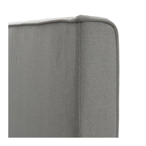 Šedá postel s tmavě šedými knoflíky a přírodními nohami Vivonita Kent,180x200cm