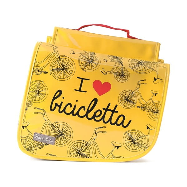 Dvojitá taška na kolo I ♥ Bicicleta, žlutá