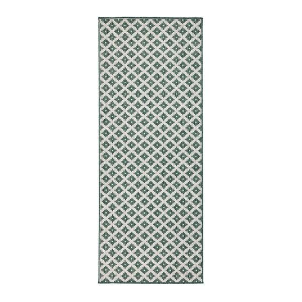 Zeleno-krémový obojstranný koberec vhodný aj do exteriéru Bougari Nizza, 80 × 150 cm