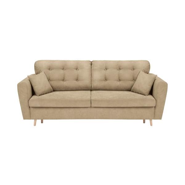 Beżowa 3-osobowa sofa rozkładana ze schowkiem Cosmopolitan Design Grenoble