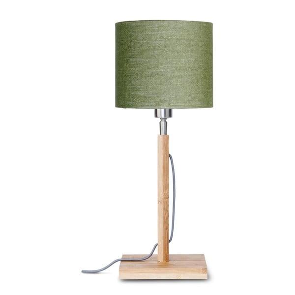 Stolní lampa se zeleným stínidlem a konstrukcí z bambusu Good&Mojo Fuji