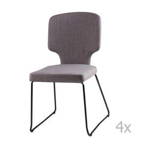 Sada 4 světle šedých jídelních židlí sømcasa Dana
