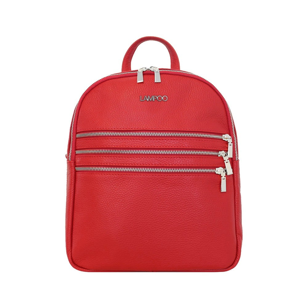 Červený kožený batoh Lampoo Kato