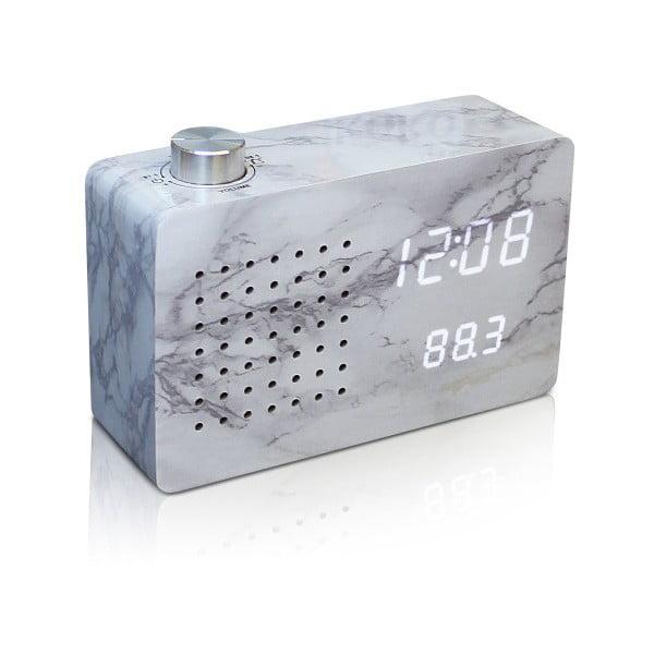 Szary budzik z białym wyświetlaczem LED i radiem Gingko Radio Click Clock Marble