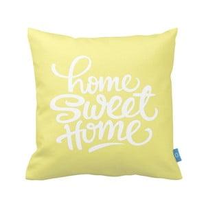 Žlutý povlak na polštář Home Sweet Home, 40 x 40 cm