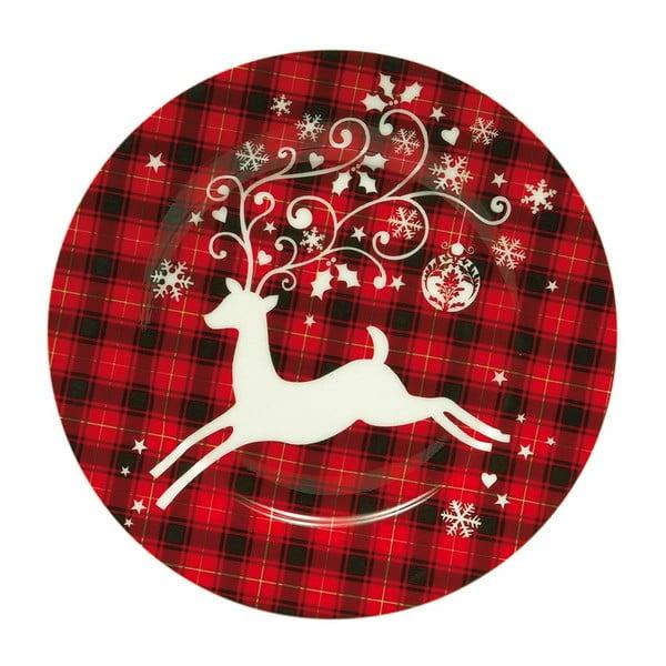 Vánoční talíř se sobem, červený