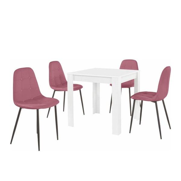 Set bílého jídelního stolu a 4 růžových jídelních židlí Støraa Lori Lamar Duro