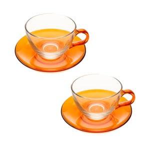 Šálek s podšálkem, 2ks, oranžový