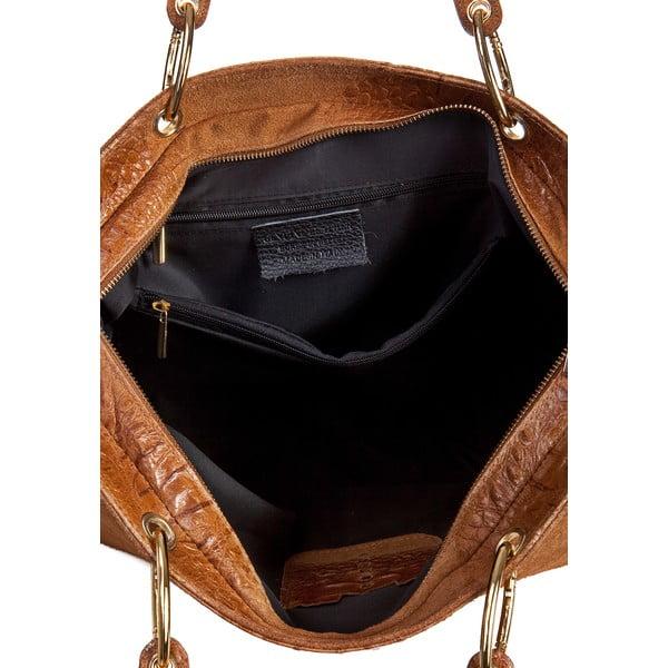 Koňakově hnědá kožená kabelka Massimo Castelli Ravenna