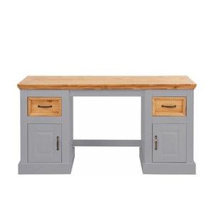 Šedý psací stůl z masivního borovicového dřeva Støraa Suzie