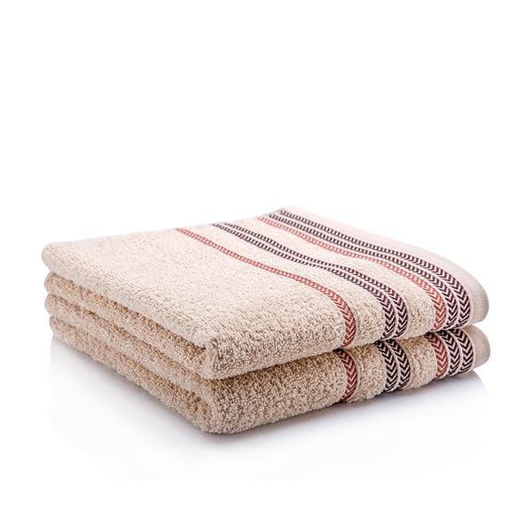Sada 2 ručníků Hugo Beige, 70x140 cm
