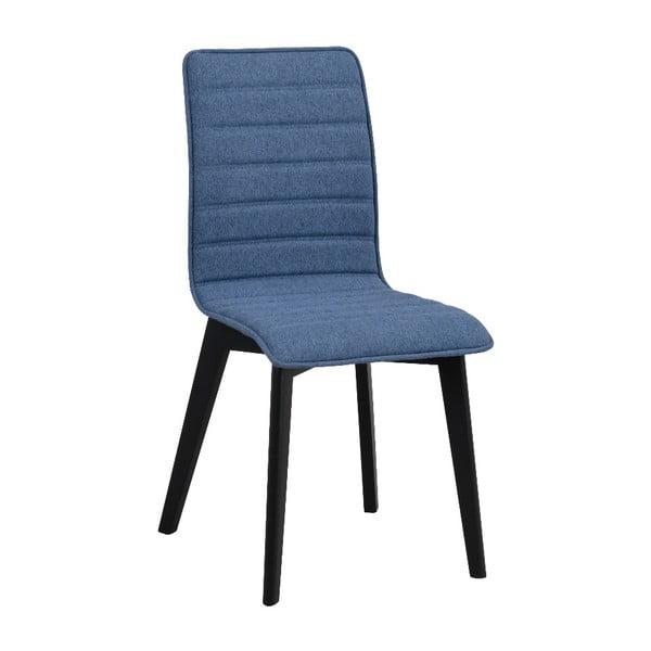 Niebieskie krzesło do jadalni z czarnymi nogami Rowico Grace