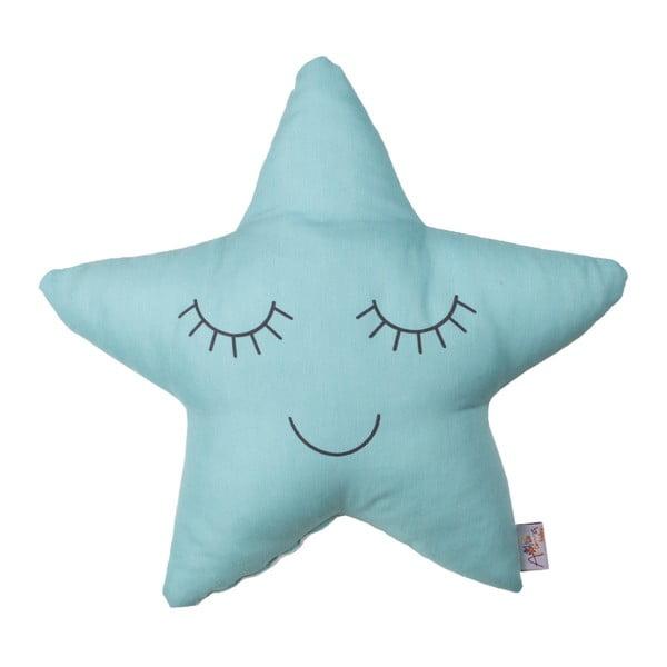 Pernă din amestec de bumbac pentru copii Apolena Pillow Toy Star, 35 x 35 cm, turcoaz