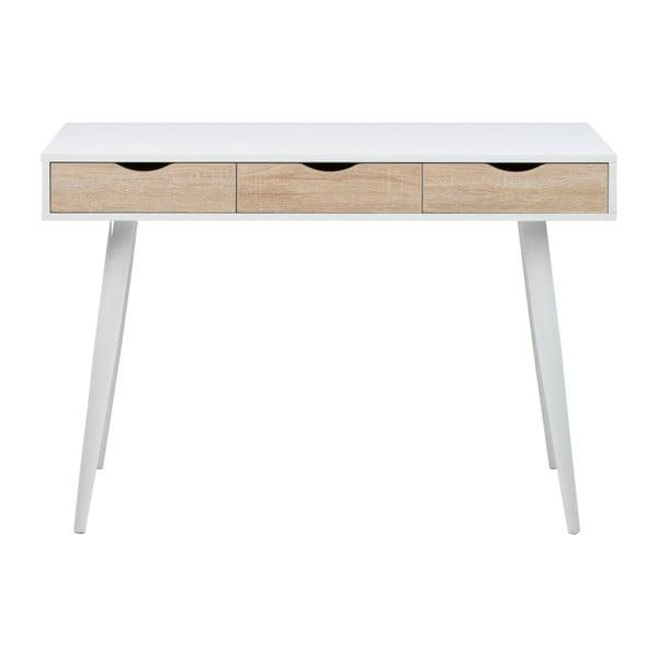 Biely pracovný stôl s 3 zásuvkami v dekore dreva Actona Neptun