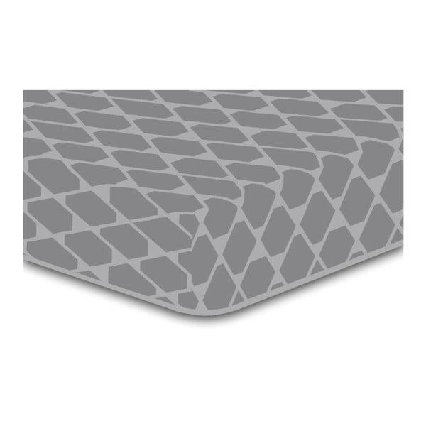 Šedé elastické prostěradlo se vzorem DecoKing Rhombuses, 140x200cm