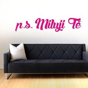 Samolepka na stěnu P.S.  Miluji Tě, růžová