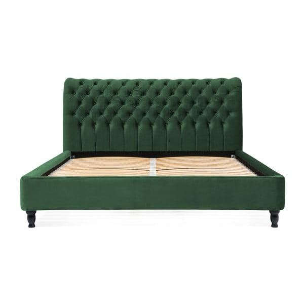 Pat din lemn de fag cu picioare negre Vivonita Allon, 140 x 200 cm, verde