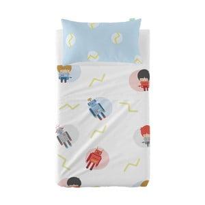 Set prostěradla a povlaku na polštář z čisté bavlny Happynois Beep, 120 x 180 cm