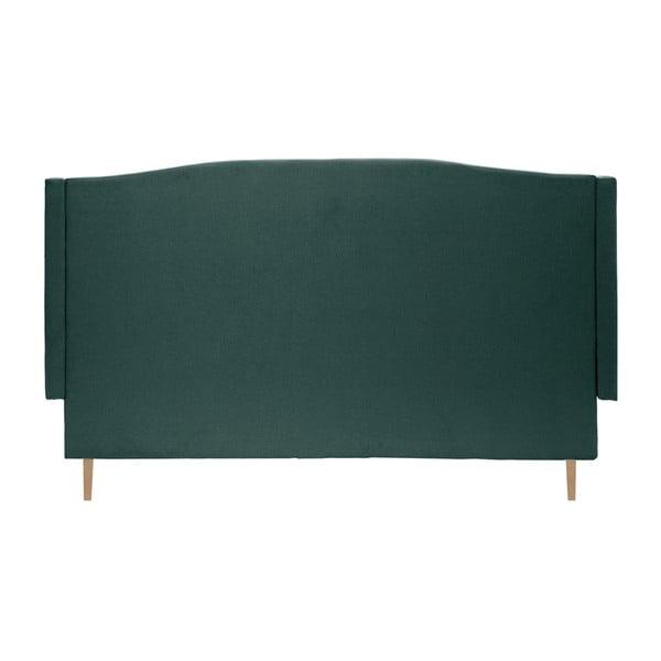 Petrolejově zelená postel s přírodními nohami Vivonita Windsor,160x200cm