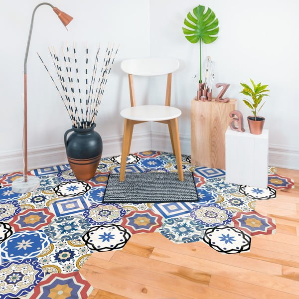 Sada 10 samolepek na podlahu Ambiance Floor Stickers Hexagons Salvatore, 40 x 90 cm