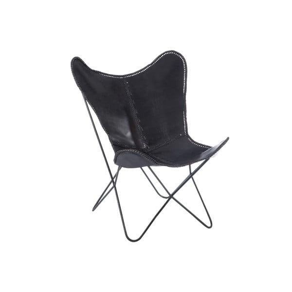 Černé kožené křeslo J-Line Lounge