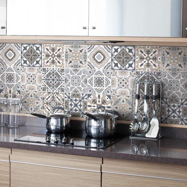 Zestaw 24 naklejek ściennych Ambiance Decal Tiles Azulejos Giacomo, 10x10 cm