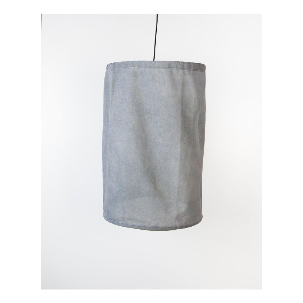 Šedé závěsné svítidlo ze lnu a kovu Surdic, Ø 35 cm