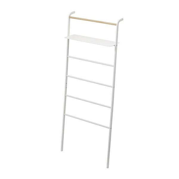 Biały wieszak z półką YAMAZAKI Tower Ladder