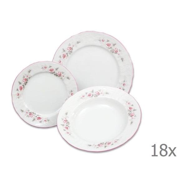 Sada 18 porcelánových talířů s růžičkami Thun Bernadotte