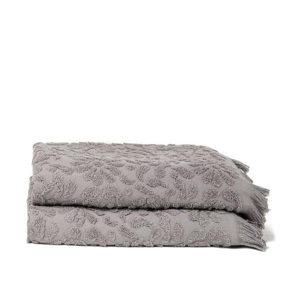 Set 2 osušek Riad Bath Grey, 70x140 cm