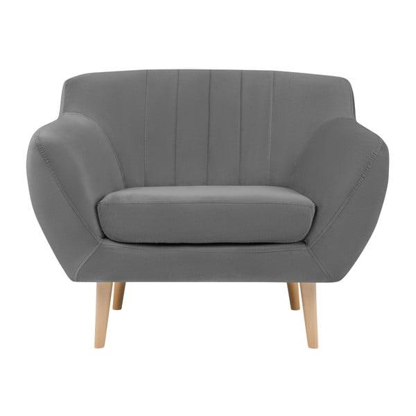 Sardaigne szürke fotel, világos lábakkal - Mazzini Sofas