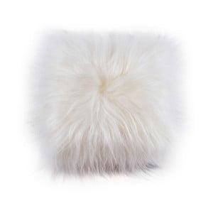 Pernă din blană cu fir lung Natural White, 45x45 cm