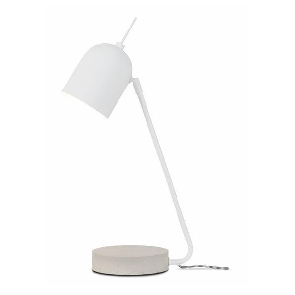 Biela stolová lampa s betónovým podstavcom Citylights Madrid