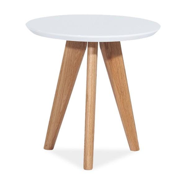 Bílý odkládací stolek s lesklou deskou a nohama z dubového dřeva Signal Milan, ⌀50cm
