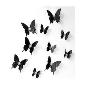 Set 12 autocolante cu efect 3D Ambiance Wall Butterflies, negru