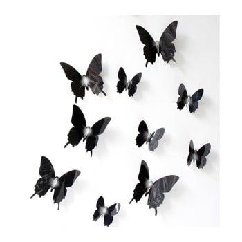 Set 12 autocolante cu efect 3D Ambiance Wall Butterflies, negru de la Ambiance
