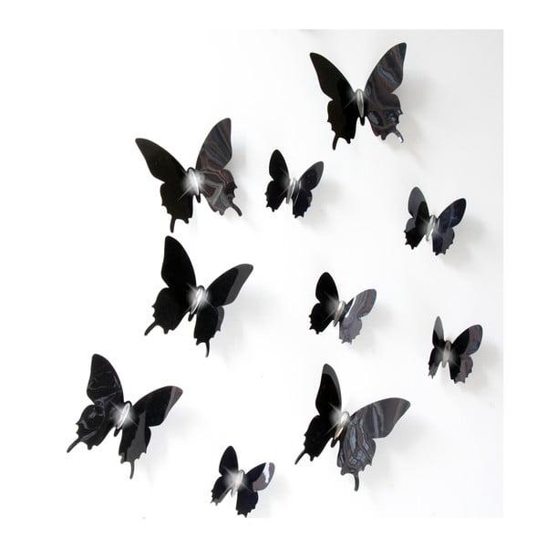 Zestaw 12 czarnych naklejek elektrostatycznych 3D Fanastick Fanastick Wall Butterflies