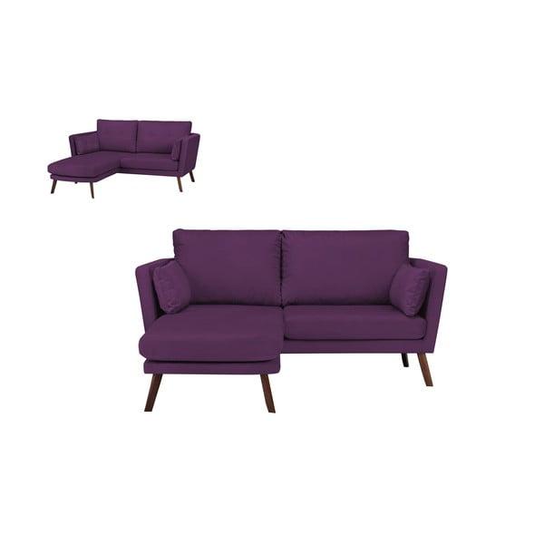 Tmavě fialová třímístná pohovka Mazzini Sofas Elena, slenoškou na levém rohu