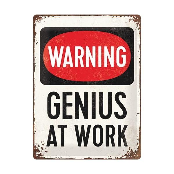 Plechová cedule Genius At Work, 30x40 cm