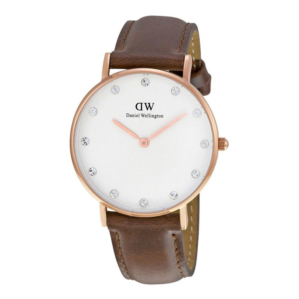 Dámské hodinky s koženým řemínkem a ciferníkem růžovozlaté barvy Daniel Wellington St Mawes, ⌀ 34 mm