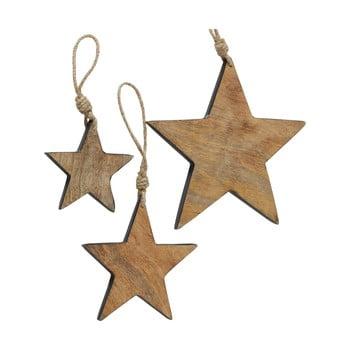 Set 3 decorațiuni suspendate pentru Crăciun din lemn de mango Boltze Paimio