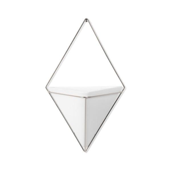 Biała ceramiczna doniczka wisząca z konstrukcją w kolorze srebra Umbra Trigg