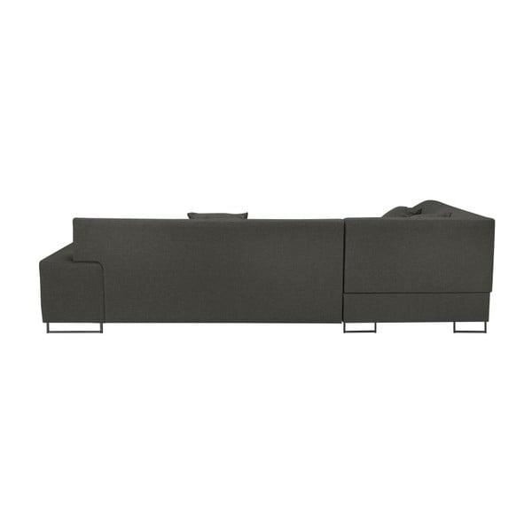 Tmavě šedá rohová rozkládací pohovka s nohami v černé barvě Cosmopolitan Design Orlando, pravý roh
