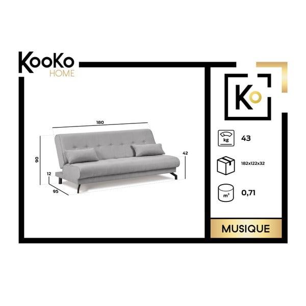 Canapea extensibilă cu 3 locuri Kooko Home Musique, verde turcoaz