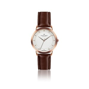 Unisex hodinky s tmavě hnědým páskem z pravé kůže Frederic Graff Thelma