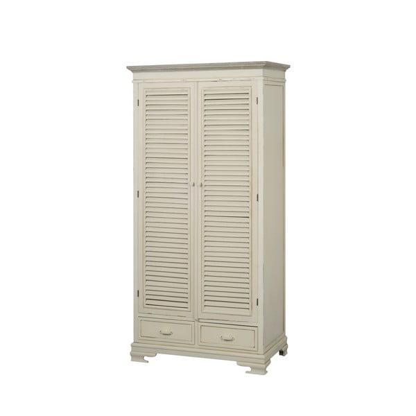 Krémová dvoudveřová šatní skříň z topolového dřeva Livin Hill Pesaro