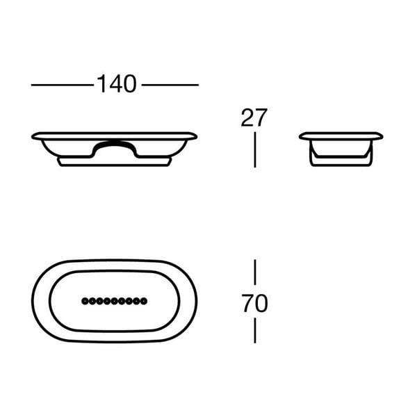 Držák na mýdlo White Soap, 14x2,7x7 cm
